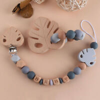 Personalised Pacifier Chain Clips Monstera Silicone Beads Baby Teething Bracelet