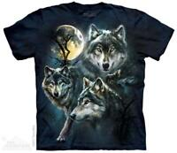 Moon Wolves Collage Wild Full Moon The Mountain T-Shirt (3309) All Sizes