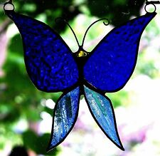 PEACEFUL BLUE BUTTERFLY Stained Glass Suncatcher with a Modern Silver Finish