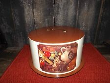 Ballonoff Ohio Tin Cake Keeper Carrier Crackle Cream Brown Wine Fruit Veggies
