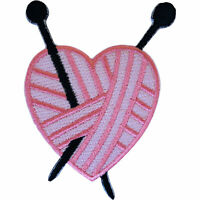 Pink Heart Knitting Needles Patch Iron Sew On Shirt Bag Jeans Embroidered Badge