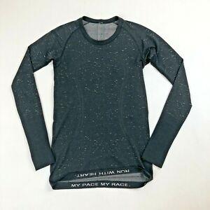 Womens Lululemon Sz 6 Speckled Black/Gray Tech Run Swiftly L/S Top w/Thumbholes