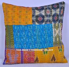 """Indian Kantha Patchwork Cushion Covers 40cm 16"""" Handmade Gorgeous Pillow Case"""