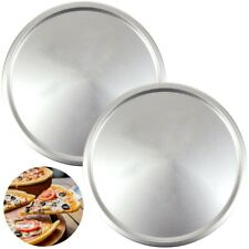 """2 LARGE 13"""" PIZZA TRAYS Long Lasting Steel Baking Dish Round Oven Pan Cook Grill"""