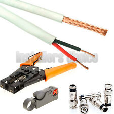 1000 ft RG59 Siamese Security Camera Cable Stripper Crimping Connector Tool KIT