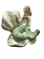 "Vintage Mermaid Sea Shell Green Tail Resin Statue Home  Decor 8""Lx 6""W x 8""H"