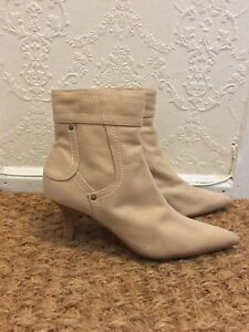 Beige Denim Pointed Toe Ankle Boots Size 4 Eu 37 Y2k 00s