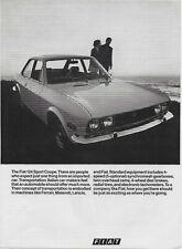 1970 Fiat 124 Sport Coupe Radial Tires Discs Original Vintage Print Ad