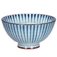 "Japanese Rice Soup Bowl 4.5""D Porcelain Blue Nami Tokusa Lines Made in Japan"