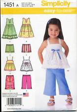 SIMPLICITY SEWING PATTERN 1451 TODDLERS/GIRLS ½-4 DRESS TOP CROPPED PANTS SHORTS