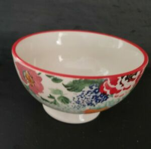 """The Pioneer Woman Vintage Floral 6""""  Footed Bowl  Red Rim, Multi Color Floral ."""