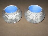 Pair Of Control Bubbles Studio Art Glass Paperweight  Candle Holder Blue Inside