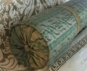 Fortuny Farnese Bolster Pillow w/Gold Metallic Trim Pleated & Button Ends
