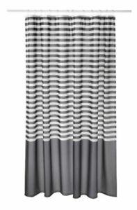 IKEA VADSJÖN Vadsjon Dark Grey & White Gray Striped Shower Curtain SHIP FREE