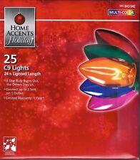 MULTICOLOR TRANSPARENT C9  25 CT STRING LIGHTS ~PARTIES ~ HOLIDAYS  CAMP~RV ~NIB