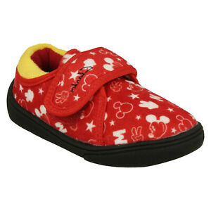 BOYS CLARKS HOLMLY MOUSE HOOK & LOOP INFANT DISNEY INDOOR HOUSE SLIPPERS SIZE