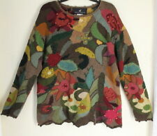Peruvian Connection - Sz XL Incredible Pima Cotton Floral Funky Art-Knit Sweater