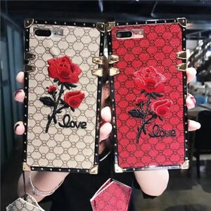 Square Embroidery Rose Phone Case For iPhone 12 11 Pro MAX XR XS Samsung S20 A71
