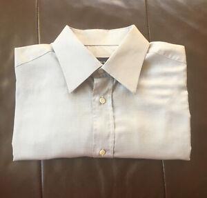 Canali Light Grey Small Check Italian Shirt 41/16