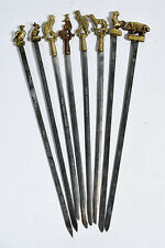 Set of 8 Turkish Brass & Stainless Steel Shish Kebab Skewers marked TURKEY SENER