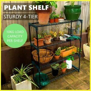 4 Tier Flower Pot Plant Shelf Metal Stand Garden Rack Shelves Décor Storage Pots