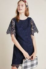 NWT by Anthropologie Charleston Blue Floral Lace Mini Shift Dress 0 XS