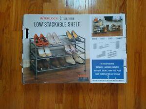 3 Tier Iron Stackable Shoe Rack