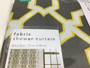 Fabric Shower Curtain Geo Lattice Gray &Yellow  Excell 70 In X 72 In