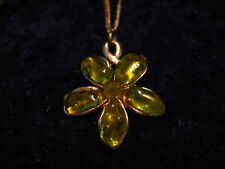 "PAIR OF MATCHING RING & NECKLACE - 8"" CHAIN W' GREEN FLOWERED PENDANT/NICE RING"