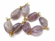 """Vintage Amethyst Nugget Ankle Bracelet Gold Plated 9.5"""" Long Gemstone Anklet"""