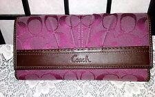 Coach Trifold Plumish Purple Satin Signature Jacquard Leather Checkbook Wallet