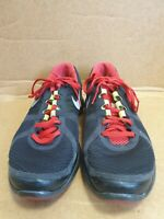 E218 MENS NIKE LUNARECLIPSE 2 BLACK RED TEXTILE LACE UP RUNNING TRAINERS UK 8