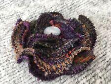 Handmade tweed flower brooch with pin, purple orange fabric flower gift for her