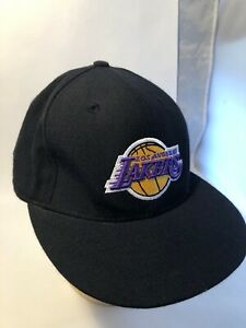 LOS ANGELES LAKERS BLACK WOOL FITTED SIZE 7 7/8 TEAM L LOGO NBA CAP REEBOK