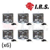 6 x Recessed Stainless Steel Folding Drop T Tool Box Handle (Ute, Caravan Lock)