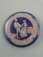 Vintage Syttende Mao Folk Festival 1984 pinback pin button lapel Stoughton WI