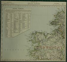 1883 LETTS MAP ~ IRELAND CONNAUGHT ROUND TOWERS LIGHTHOUSES MAYO SLIGO