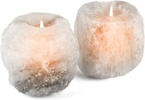 2 X Himalayan Salt Candle Holder White Rare Crystal Rock Tea Light Holder