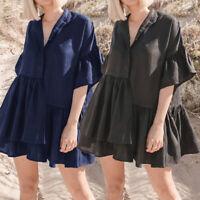 Women Baggy Short Sleeve V Neck Smock Dresses Vintage Casual Mini Dress Long Top