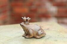 Gusseisen Frosch Froschkönig klein Metall braun Garten Deko Skulptur Figur