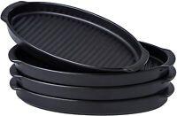 "Bruntmor 10"" Ceramic Oval Dinner Plates Set of 4 Grill Pan Serving Plates Black"