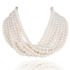Kalse 7 Layers Strand White Pearl Beads Chunky Bib Short Choker Fashion Necklace
