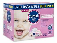 Curash Fragrance Free Baby Wipes 8 x 80 Pack