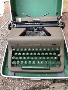 Vintage Royal Quiet De Luxe Manual Portable Typewriter Green Keys w/Case Works