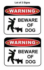 """2 Count """"Warning Beware of Dog"""" 9 inch x 11.5 inch Laminated Funny Sign"""