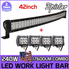 42inch 240W EPISTAR Led Light Bar Curved + 4x4inch CREE Led Pods Truck Jeep Ford