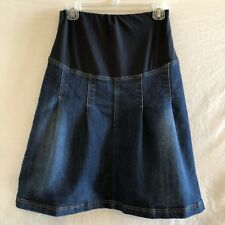 JoJo Maman Bebe Maternity Denim Jean Skirt Size 4 Indigo Blue Pleated Distressed