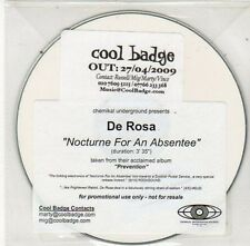 (BY721) De Rosa, Nocturne for an Absentee - 2009 DJ CD