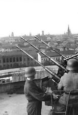 WWII B&W Photo Berlin Flak Tower 2cm AA Gun WW2 World War Two Germany / 2050