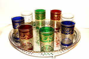 Set 4 Real Authentic Beautiful Gift Moroccan Drinking Serving Tea Shot Glasses